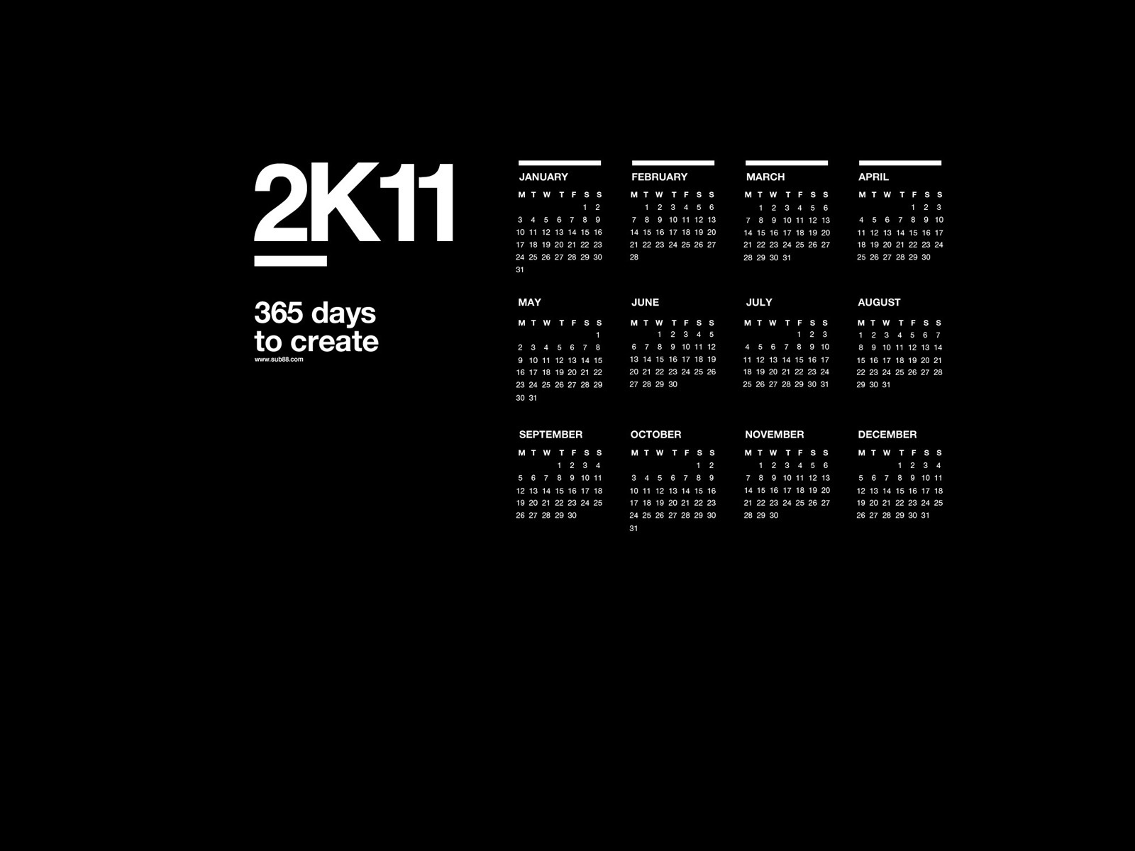 Sub88: DK11 Desktop Calendar